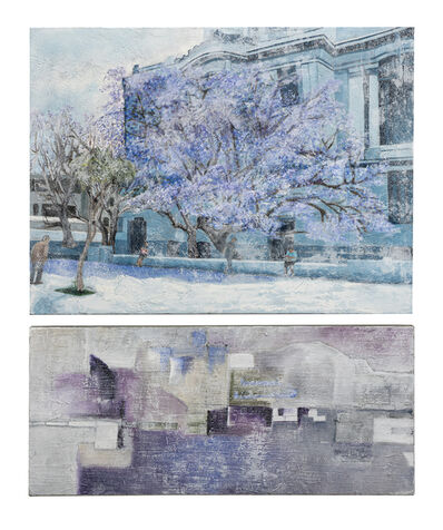 Cecilia Villanueva, 'Jacaranda 2 with Abstract (Dipthyc), Purple flowers architecture, Palacio de Bellas Artes, Mexico landscape abstract trees daylight blue green dream oil painting bright pigments cloudy effect subtle', 2019