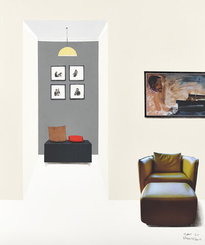 Sam Nhlengethwa, 'The red couch', 2020