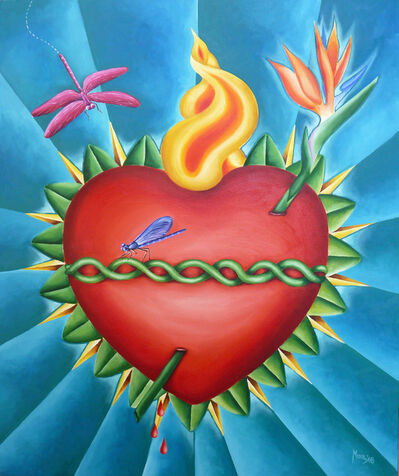 Ines Mora, 'Sacred heart with two dragonflies'