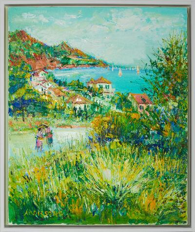 Yolande Ardissone, 'Yolande Ardissone Coastal Village Original Oil Painting Contemporary Art', ca. 1980