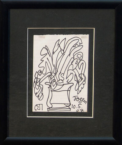Jogen Chowdhury, 'Flower Vase, Ink on paper by Great Modern Indian Artist Jogen Chowdhury', 2007