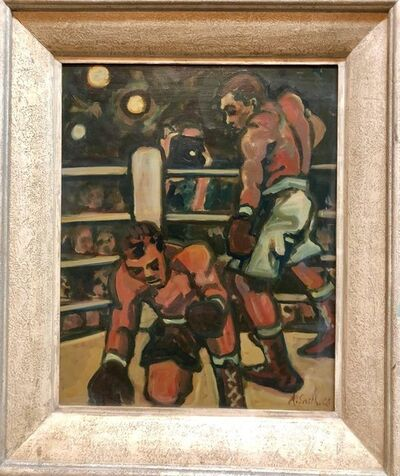 Arthur Smith, 'Boxing Sporting Painting 'Down for the Count' WPA artist Americana', Mid-20th Century