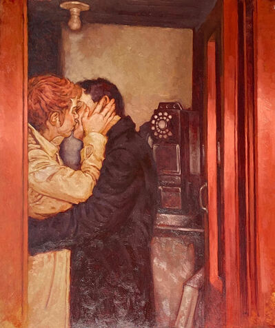 """Joseph Lorusso, '""""Person to Person"""" oil painting of a man and woman kissing in a red phone booth', 2020"""