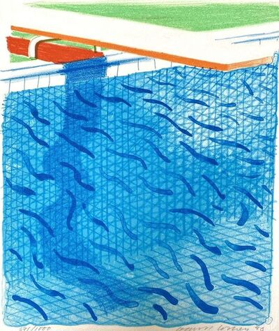 David Hockney, 'Pool Made with Paper and Blue Ink', 1980