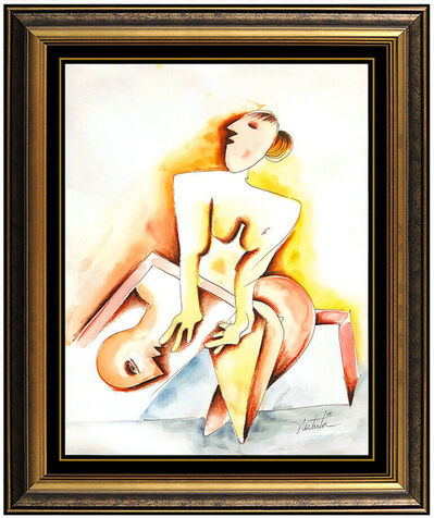 Alexandra Nechita, 'Alexandra Nechita Original Watercolor Painting Cubism Portrait Signed Framed Art', 2005