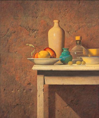 Ron Monsma, 'Blue and Yellow Vase on a White Table'