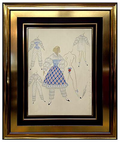 Erté (Romain de Tirtoff), 'ERTE Original Gouache Painting Signed Art Deco Costume Romain de Tirtoff Bronze', 20th Century