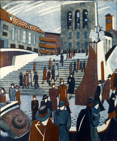 Lill Tschudi, 'People Coming Out of Church', 1938