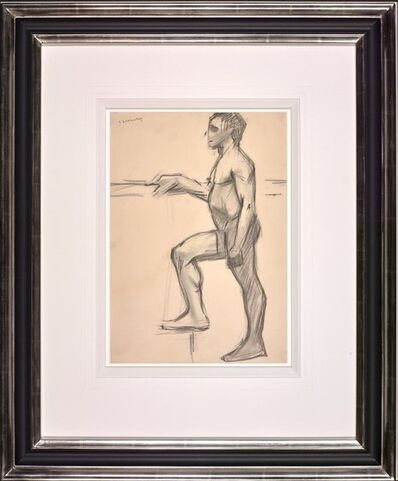 L.S. Lowry, 'Naked Male Figure with Right Foot on Step', 1905-1915