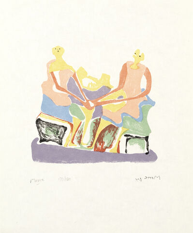 Henry Moore, 'Two Seated Women, from 'Shelter Sketchbook' (Cramer 85)', 1966