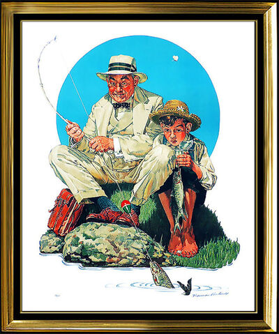 Norman Rockwell, 'Norman Rockwell Color Lithograph Original HAND SIGNED Catching The Big One Art', 20th Century
