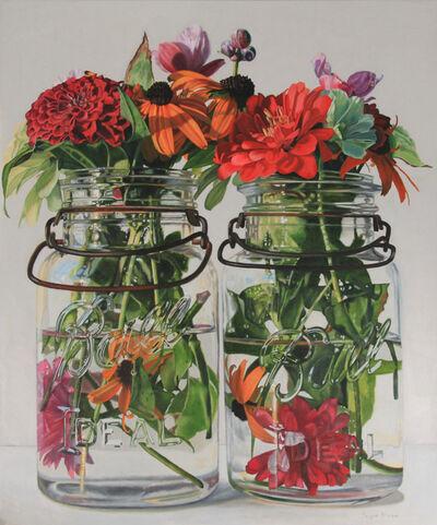 Peggie Blizard, 'Red Flowers in Clear Jars', 2021
