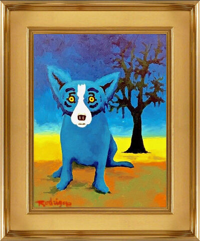 George Rodrigue, 'George Rodrigue Blue Dog with Tree Original Oil Painting Signed Contemporary Art', 1990-2010