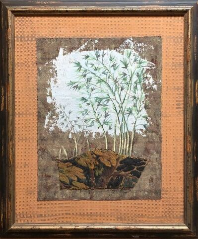 Jacques Lamy, 'Mixed Media Floral Oil Painting Collage Bouquet of Bamboo Grass with Flowers', 20th Century