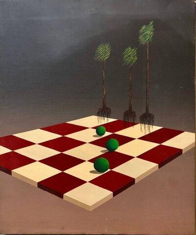 Celina Hinojosa, 'Latin American Surrealist Landscape with Chess Board Oil Painting Chicano Artist', 1980-1989