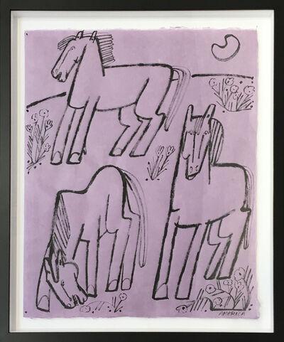 America Martin, 'Three Horses and Early Moon', 2019