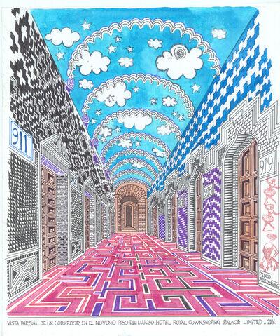 Pedro Friedeberg, 'Vista parcial de un corredor en el noveno piso del lujoso Hotel Royal Cownsnofski Palace Limited'
