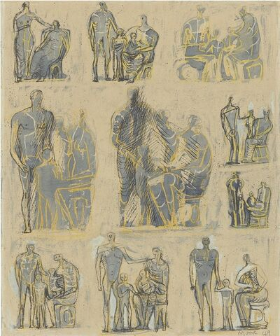 Henry Moore, 'Ten Studies for Family Group', 1949-1950
