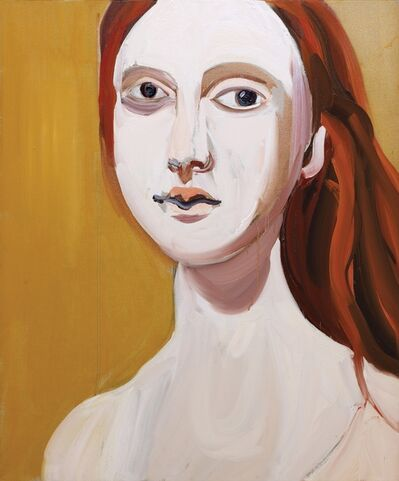 Chantal Joffe, 'Red Head on Ochre', 2012