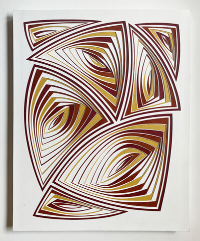 Elizabeth Gregory-Gruen, 'Cut with Surgical Scalpel on 2 Ply Museum Board: 'Red Gold'', 2020