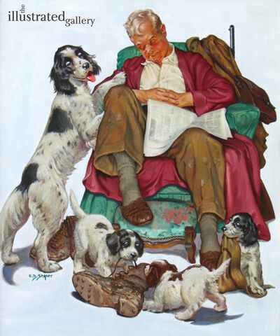 Ellen Barbara Segner, 'Napping with His Dogs'