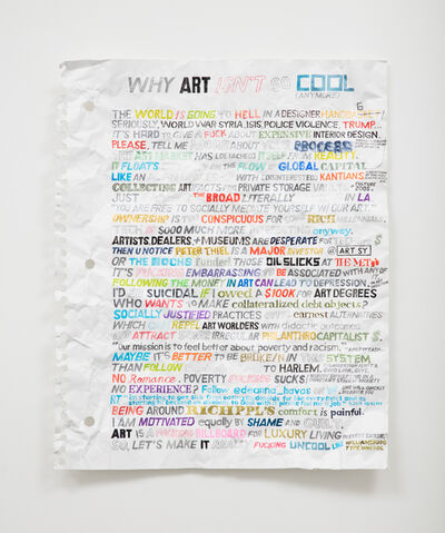 William Powhida, 'What Art Isn't So Cool (anymore)', 2016