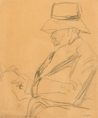 Gwen John, 'Arthur Symons in a Hat, Reading', circa 1920