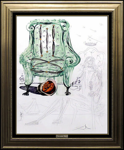 Salvador Dalí, 'Salvador Dali Lithograph Authentic HAND Signed Armchair Surreal Artwork Collage', 1970-1989