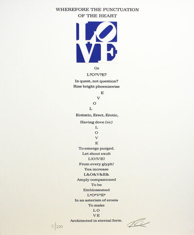Robert Indiana, 'Wherefore the Punctuation of the Heart Poem, Book of Love', 1996