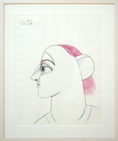 George Condo, 'Profile with Pink Hair', 2018