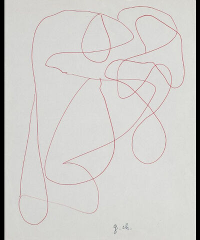Gaston Chaissac, 'Composition, drawing in biro with monogram', 20