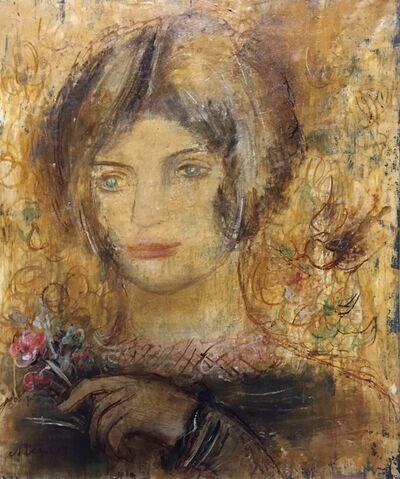 Sigmund Menkes, 'Portrait de femme au bouquet de fleurs'