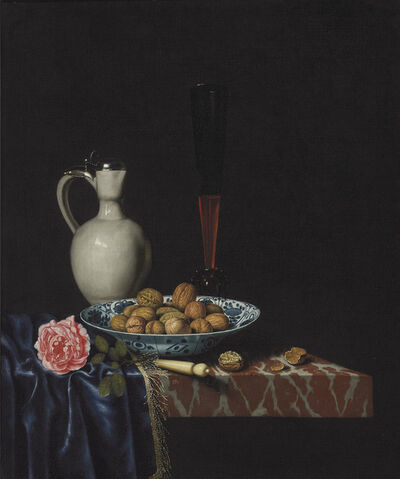 Hubert van Ravesteyn, 'A wan-li bowl with walnuts, a façon de venise wine glass, an ivory-handled knife, a Delft stoneware jug and a rose on a partially draped marble ledge'