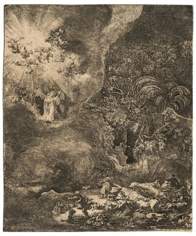 Rembrandt van Rijn, 'The Angel Appearing to the Shepherds', 1634