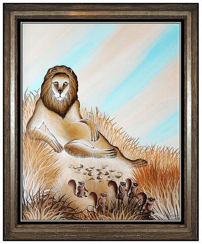 Gustavo Novoa, 'Gustavo Novoa Original Oil Painting on Board Lion Modern Animal Signed Artwork', 1979