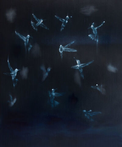 Ross Bleckner, 'Bird, Brain, Black (II)', 2014