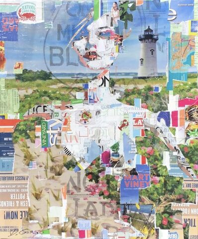 "Derek Gores, '""Full Volume MV"" collage portrait of a woman in front of Martha's Vineyard Lighthouse', 2019"