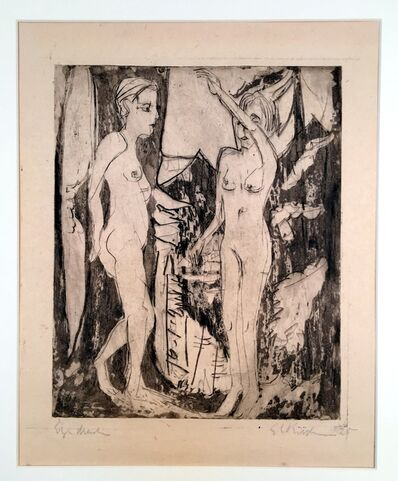 Ernst Ludwig Kirchner, 'Two Standing Nude Women before a Fir Tree, Mountainside', 1926