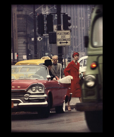 William Klein, 'Anne St-Marie + Cruiser in Traffic, New York (Vogue), Etats-Unis', 1962