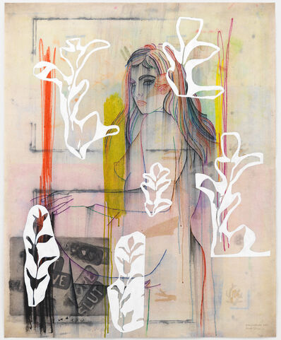 Ghada Amer & Reza Farkhondeh, 'Love, Slut and White Posy', 2017