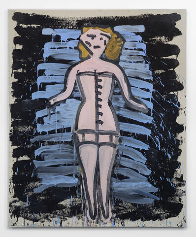 Rose Wylie, 'Corset, (Botticelli on Planks)', 2019