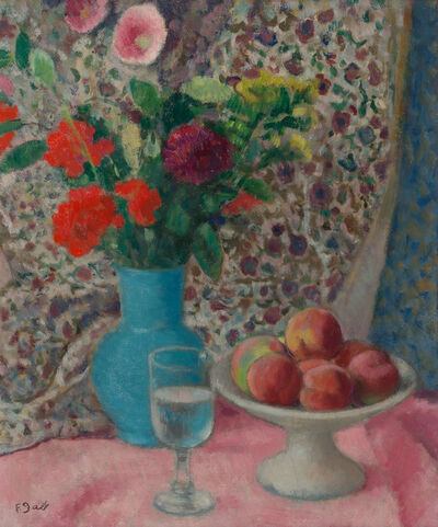 Francois Gall, 'Still Life with Peaches and Flowers on a Pink Tablecloth'
