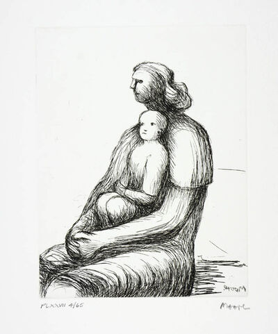 Henry Moore, 'Henry Moore, Plate XXVII, Mother & Child (C. 697), Etching, signed', 1983