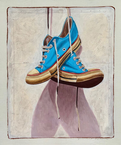 "Santiago Garcia, '""1327"" photorealist oil painting of blue low top converse on white background', 2019"