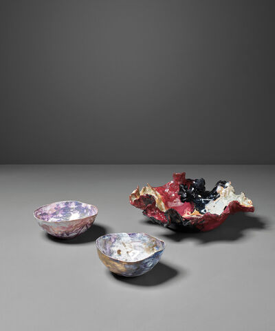 Fausto Melotti, 'Piatto (dish) and two 'Coppette' (small bowls)', circa 1955 and circa 1960