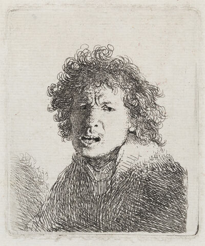 Rembrandt van Rijn, 'Self-Portrait Open Mouthed, as if Shouting:  Bust', 1630