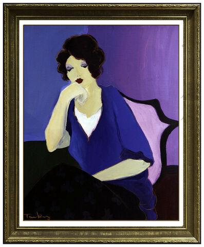 Itzchak Tarkay, 'Itzchak Tarkay Large Acrylic Painting On Canvas Signed Female Portrait Cafe Art', 20th Century
