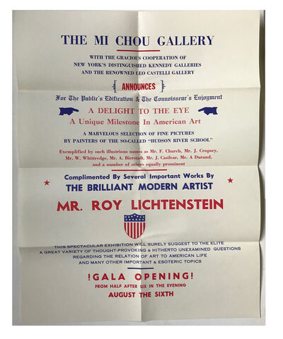 "Roy Lichtenstein, '""Mr. Roy Lichtenstein"", 1962, Exhibition Mailer / Poster / Invitation,  Mi Chou Art Gallery NYC / Kennedy Gallery NYC / Leo Castelli Gallery NYC, MUSEUM QUALITY, RARE', 1962"