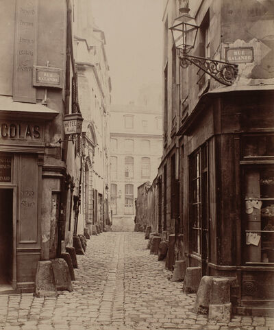 Charles Marville, 'Rue Saint-Julien-le-Pauvre de la Rue Galande', ca. 1865