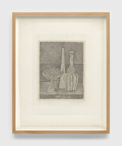 Giorgio Morandi, 'Natura morta con compostiera, bottiglia lunga e bottiglia scannellata (Still life with composter, long bottle and fluted bottle)', 1928